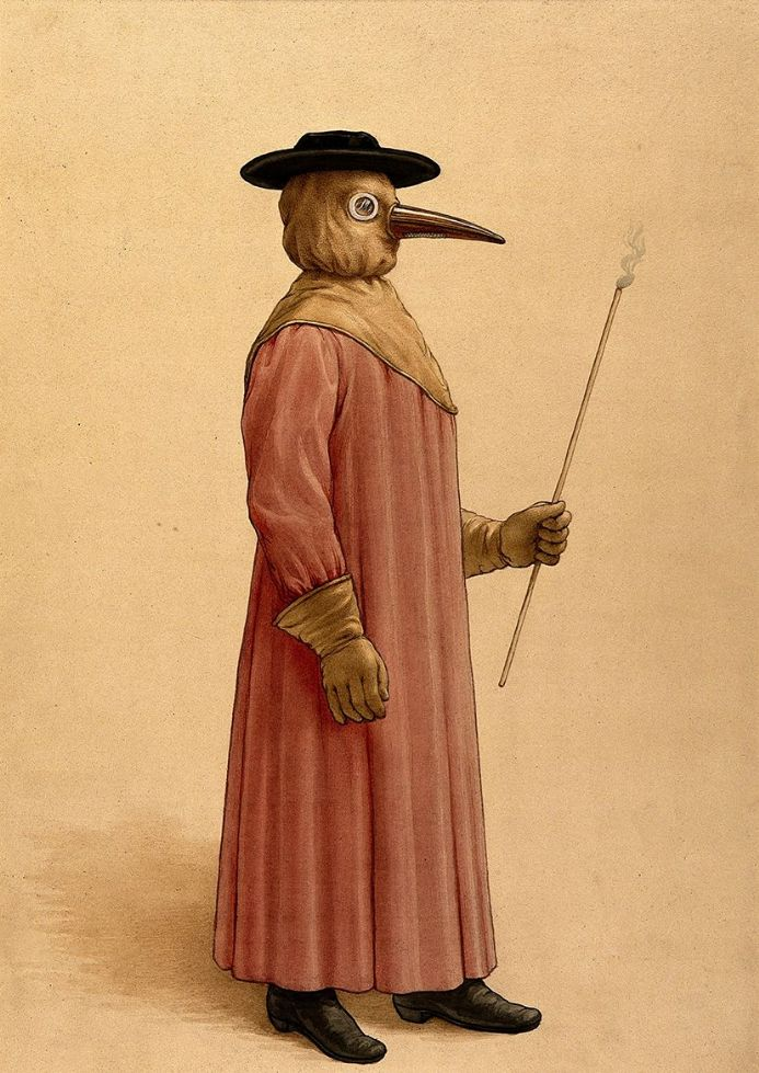 Medical Illustration: A Plague Doctor (1910). Fine Art Print/Poster. Sizes: A4/A3/A2/A1 (0014)